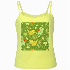 Cute Cat Background Pattern Yellow Spaghetti Tank by BangZart