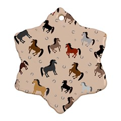 Horses For Courses Pattern Snowflake Ornament (two Sides) by BangZart