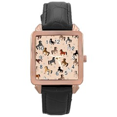 Horses For Courses Pattern Rose Gold Leather Watch  by BangZart