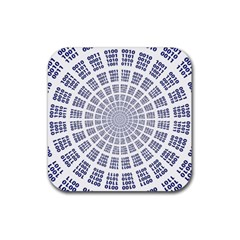 Illustration Binary Null One Figure Abstract Rubber Square Coaster (4 Pack)  by BangZart