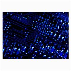 Blue Circuit Technology Image Large Glasses Cloth (2 Side) by BangZart