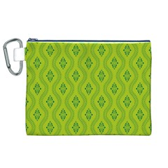 Decorative Green Pattern Background  Canvas Cosmetic Bag (xl) by TastefulDesigns