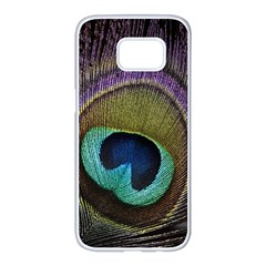 Peacock Feather Samsung Galaxy S7 Edge White Seamless Case by BangZart