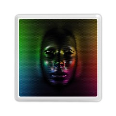Digital Art Psychedelic Face Skull Color Memory Card Reader (square)