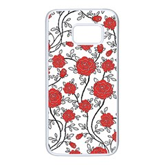 Texture Roses Flowers Samsung Galaxy S7 White Seamless Case by BangZart