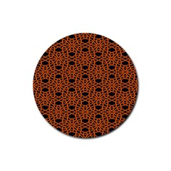 Triangle Knot Orange And Black Fabric Rubber Coaster (round)  by BangZart
