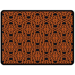 Triangle Knot Orange And Black Fabric Double Sided Fleece Blanket (large)  by BangZart