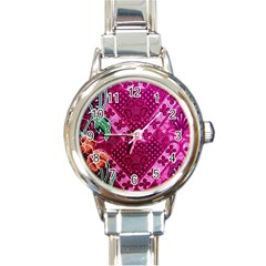 Pink Batik Cloth Fabric Round Italian Charm Watch by BangZart