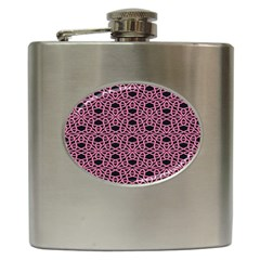 Triangle Knot Pink And Black Fabric Hip Flask (6 Oz) by BangZart