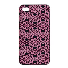 Triangle Knot Pink And Black Fabric Apple Iphone 4/4s Seamless Case (black) by BangZart