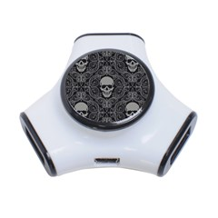 Dark Horror Skulls Pattern 3 Port Usb Hub