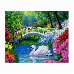 Swan Bird Spring Flowers Trees Lake Pond Landscape Original Aceo Painting Art Small Glasses Cloth (2 Side) by BangZart