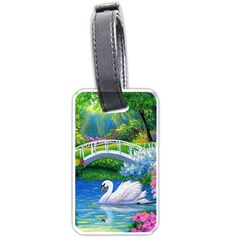 Swan Bird Spring Flowers Trees Lake Pond Landscape Original Aceo Painting Art Luggage Tags (two Sides) by BangZart