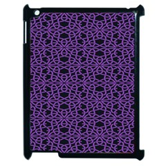 Triangle Knot Purple And Black Fabric Apple Ipad 2 Case (black) by BangZart