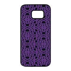 Triangle Knot Purple And Black Fabric Samsung Galaxy S7 Edge Black Seamless Case by BangZart