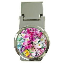 Colorful Flowers Patterns Money Clip Watches