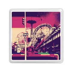Pink City Retro Vintage Futurism Art Memory Card Reader (square)  by BangZart
