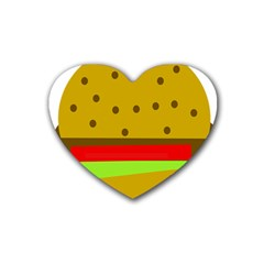 Hamburger Food Fast Food Burger Heart Coaster (4 Pack)  by Nexatart