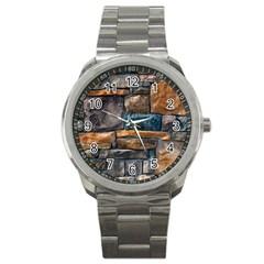 Brick Wall Pattern Sport Metal Watch