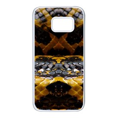 Textures Snake Skin Patterns Samsung Galaxy S7 White Seamless Case by BangZart