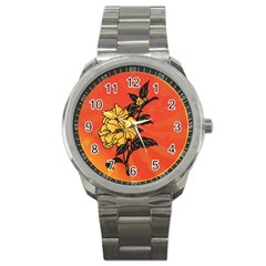Vector Asian Flowers Sport Metal Watch