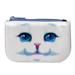Cute White Cat Blue Eyes Face Large Coin Purse by BangZart