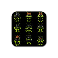 Beetles Insects Bugs Rubber Square Coaster (4 Pack)  by BangZart