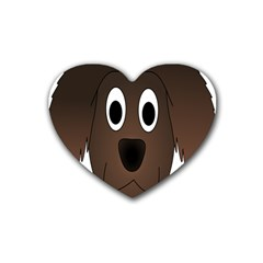 Dog Pup Animal Canine Brown Pet Heart Coaster (4 Pack)  by Nexatart