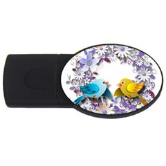 Flowers Floral Flowery Spring Usb Flash Drive Oval (2 Gb)