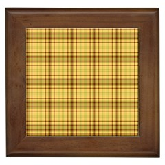 Plaid Yellow Fabric Texture Pattern Framed Tiles by paulaoliveiradesign