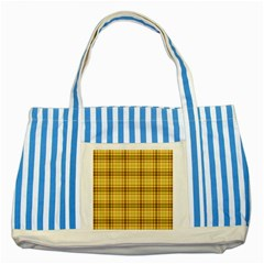 Plaid Yellow Fabric Texture Pattern Striped Blue Tote Bag by paulaoliveiradesign