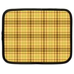 Plaid Yellow Fabric Texture Pattern Netbook Case (xl)  by paulaoliveiradesign