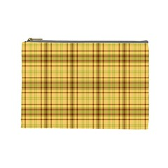 Plaid Yellow Fabric Texture Pattern Cosmetic Bag (large)  by paulaoliveiradesign