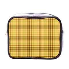 Plaid Yellow Fabric Texture Pattern Mini Toiletries Bags by paulaoliveiradesign