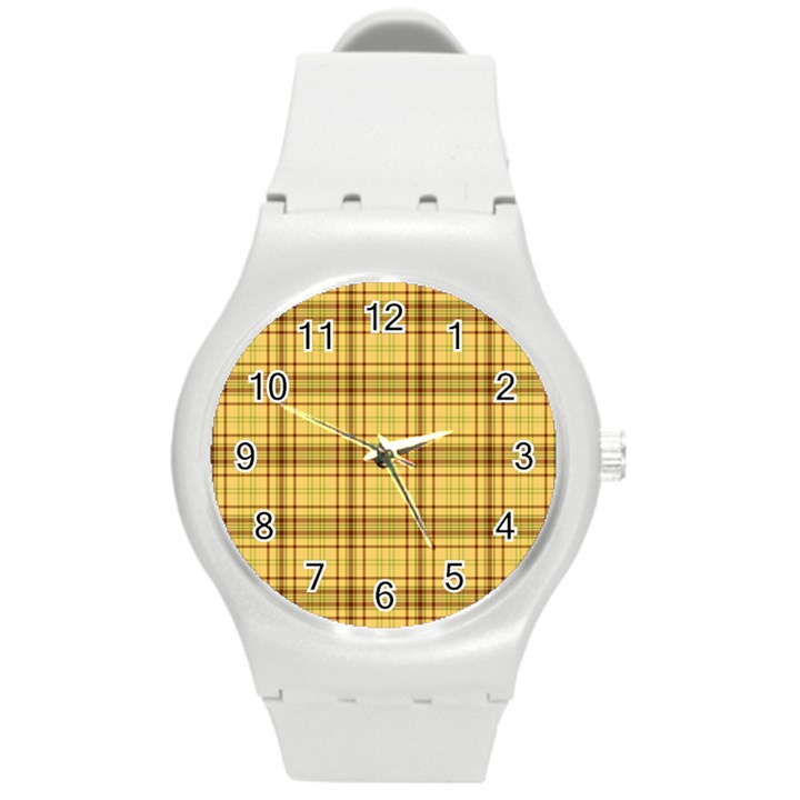 Plaid Yellow Fabric Texture Pattern Round Plastic Sport Watch (M)