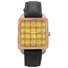 Plaid Yellow Fabric Texture Pattern Rose Gold Leather Watch  by paulaoliveiradesign