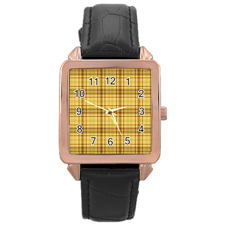 Plaid Yellow Fabric Texture Pattern Rose Gold Leather Watch