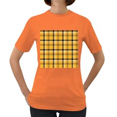 Yellow Fabric Plaided Texture Pattern Women s Dark T Shirt by paulaoliveiradesign