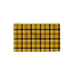 Yellow Fabric Plaided Texture Pattern Cosmetic Bag (xs) by paulaoliveiradesign