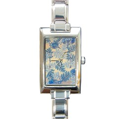 Fabric Embroidery Blue Texture Rectangle Italian Charm Watch by paulaoliveiradesign