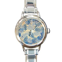 Fabric Embroidery Blue Texture Round Italian Charm Watch by paulaoliveiradesign