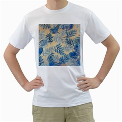 Fabric Embroidery Blue Texture Men s T Shirt (white)  by paulaoliveiradesign