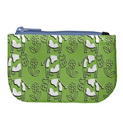 Cow Flower Pattern Wallpaper Large Coin Purse by Nexatart