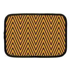 Chevron Brown Retro Vintage Netbook Case (medium)  by Nexatart
