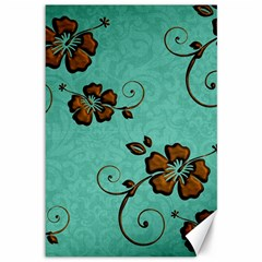 Chocolate Background Floral Pattern Canvas 12  X 18   by Nexatart