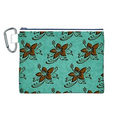 Chocolate Background Floral Pattern Canvas Cosmetic Bag (l) by Nexatart
