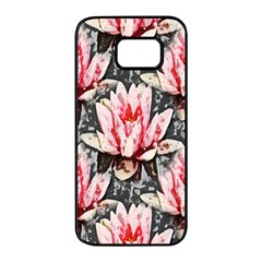 Water Lily Background Pattern Samsung Galaxy S7 Edge Black Seamless Case