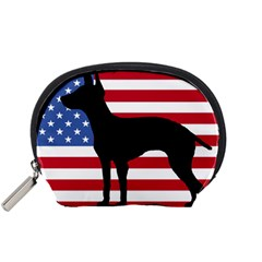 American Hairless Terrier Silhouette Usa Flag Accessory Pouches (small)  by TailWags