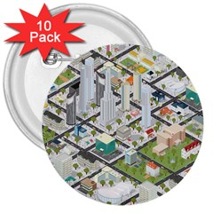 Simple Map Of The City 3  Buttons (10 Pack)  by Nexatart