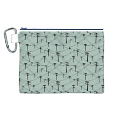 Telephone Lines Repeating Pattern Canvas Cosmetic Bag (l) by Nexatart